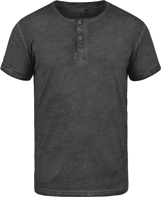 TALLA M. !Solid Tihn Camiseta Básica De Manga Corta T-Shirt para Hombre con Cuello Grandad De 100% algodón