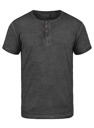 Solid Tihn Herren T-Shirt Kurzarm Shirt mit Grandad-Ausschnitt Aus 100%