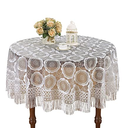 Simhomsen Pure White Lace Tablecloth Embroidered Table Linens (round 90 Inch )