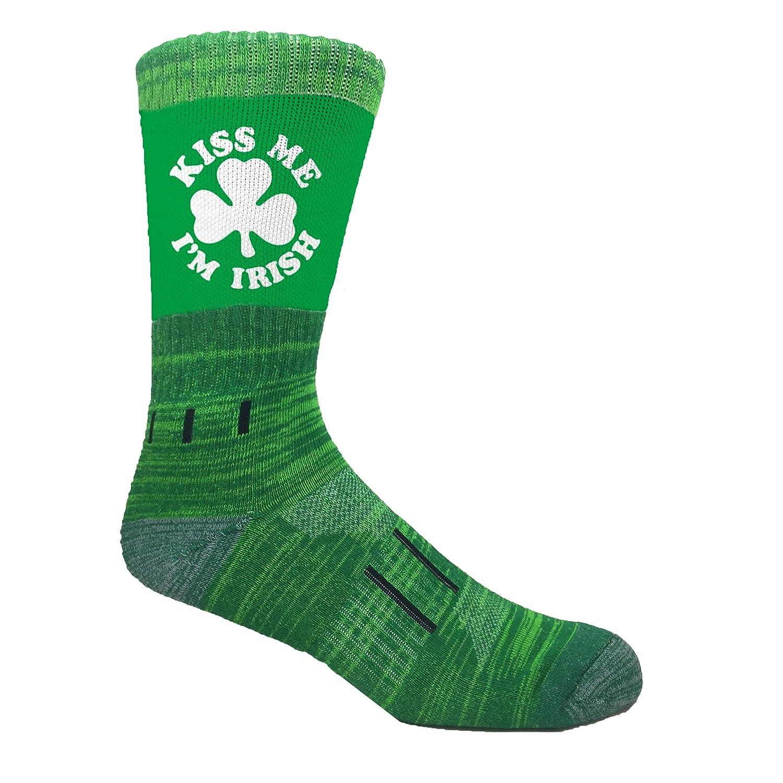 MOXY Socks Green//White Kiss Me Im Irish Clover Performance Athletic Crew Socks