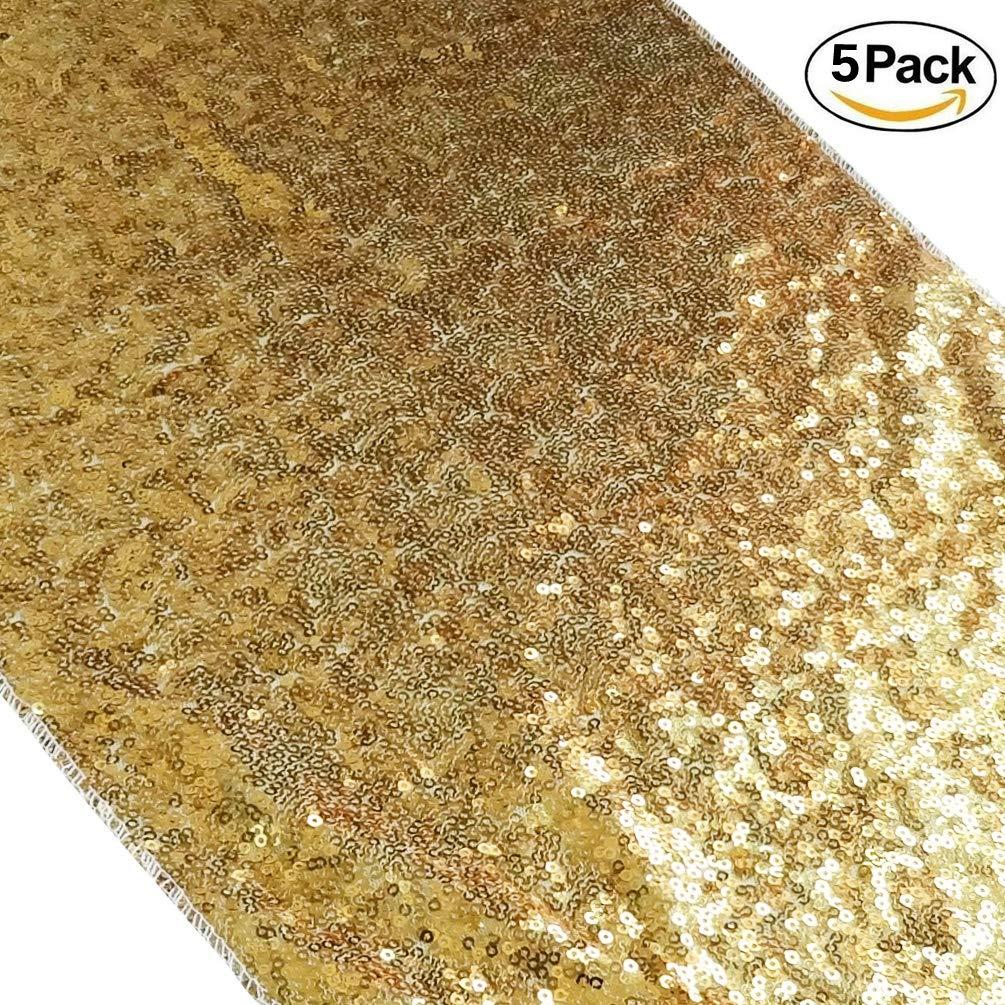 San Tungus 12インチ x 120インチ ゴールド クリスマス スパンコール テーブルランナー 12x120-Inch ゴールド 5 ゴールド B07G88WR6T