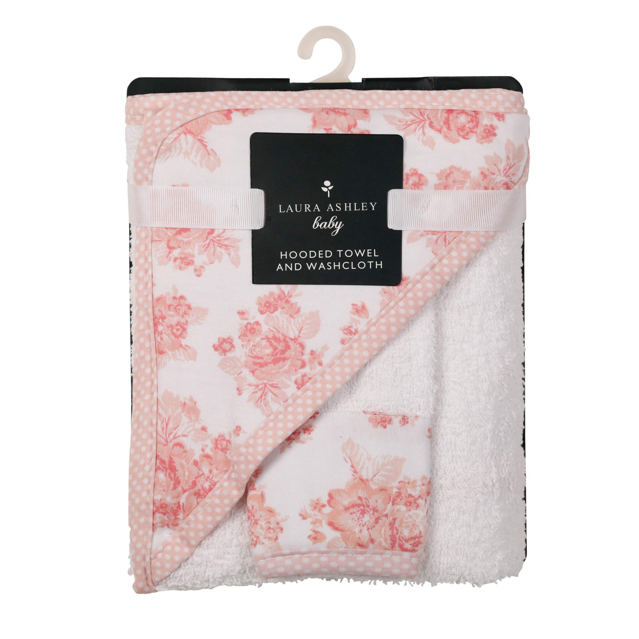 Laura Ashley Infant Hooded Towel and Washcloth, Rose Print by Laura Ashley