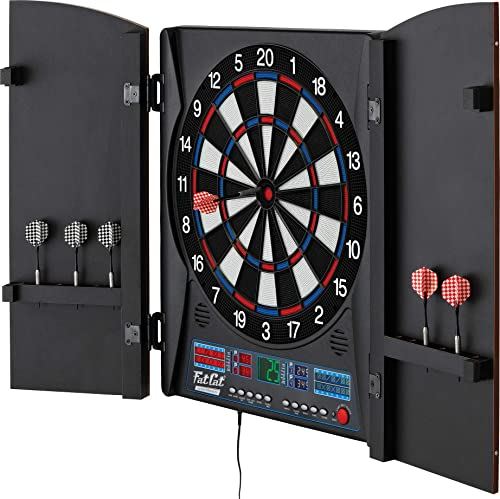 Fat Cat Electronx Electronic Dartboard, Built In Cabinet, Solo Play With Cyber Player, Dual Screen Scoreboard Display, Extended Catch Ring For Missed Darts, Classic Door Look Matches Traditional D cor