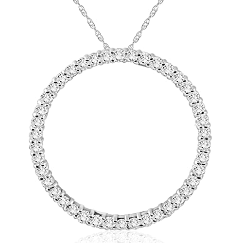 1 CT Diamond Circle Of Life Eternity Pendant 14K White Gold
