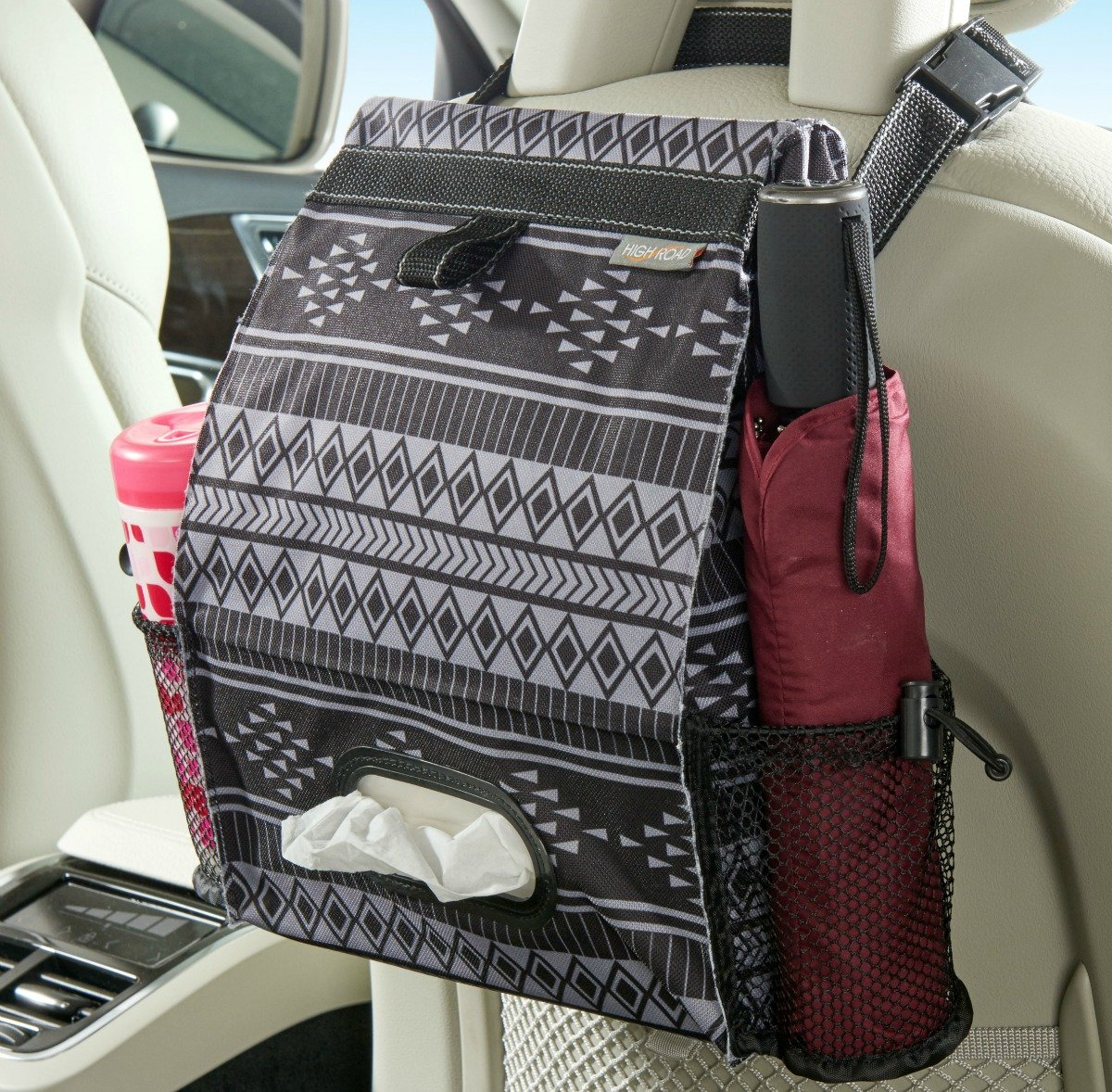 High Road Puff'nStuff Car Trash Bag and Seat Back Organizer with Tissue Holder (Baja) by High Road
