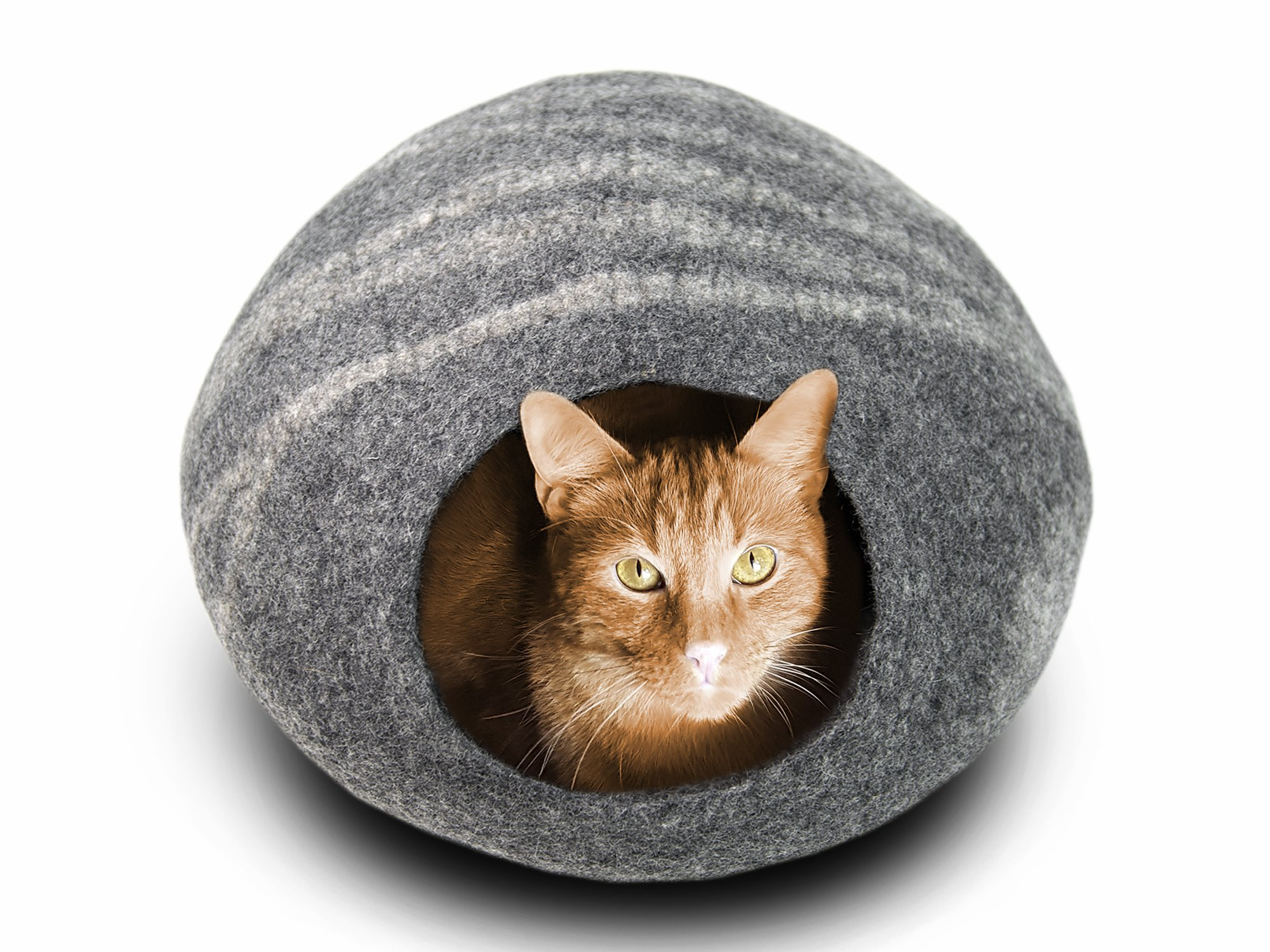 MEOWFIA Premium Felt Cat Cave Bed (Large) - Eco-Friendly 100% Merino Wool Cat Bed - Handmade - Soft and Comfy Beds for Large Cats and Kittens(Dark Grey) by MEOWFIA (Image #3)
