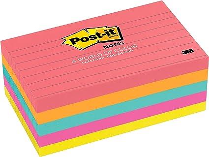 Post-it 655 - Pack de 5 blocs notas Neón con líneas, 100 hojas ...