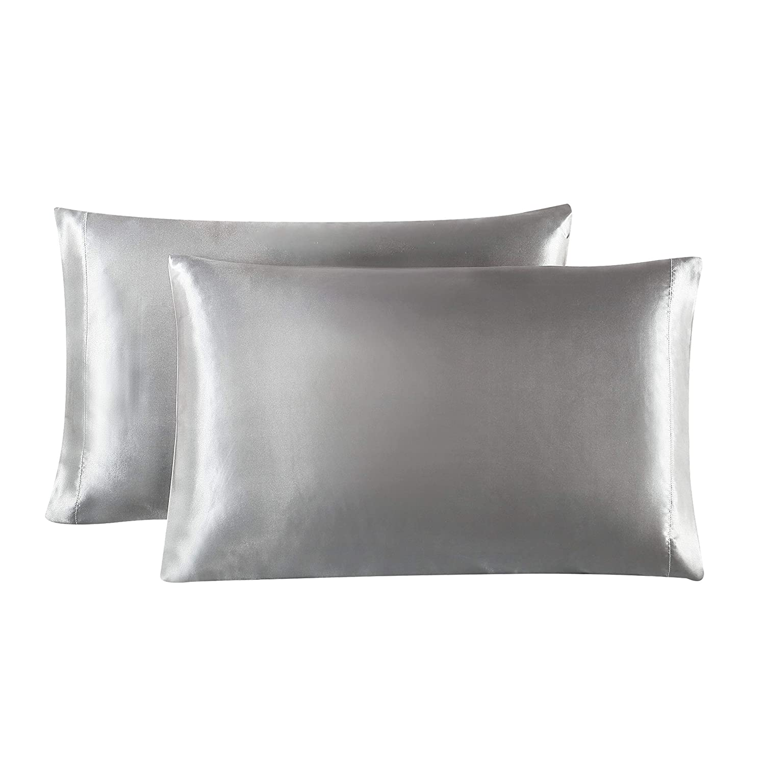 Love's cabin Silk Satin Pillowcase for Hair and Skin (Light Grey, 20x26 inches) Slip Pillow Cases Standard Size Set of 2 - Satin Cooling Pillow Covers with Envelope Closure