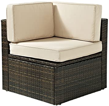 Crosley Furniture Palm Harbor Outdoor Wicker Corner Chair With Cushions    Brown