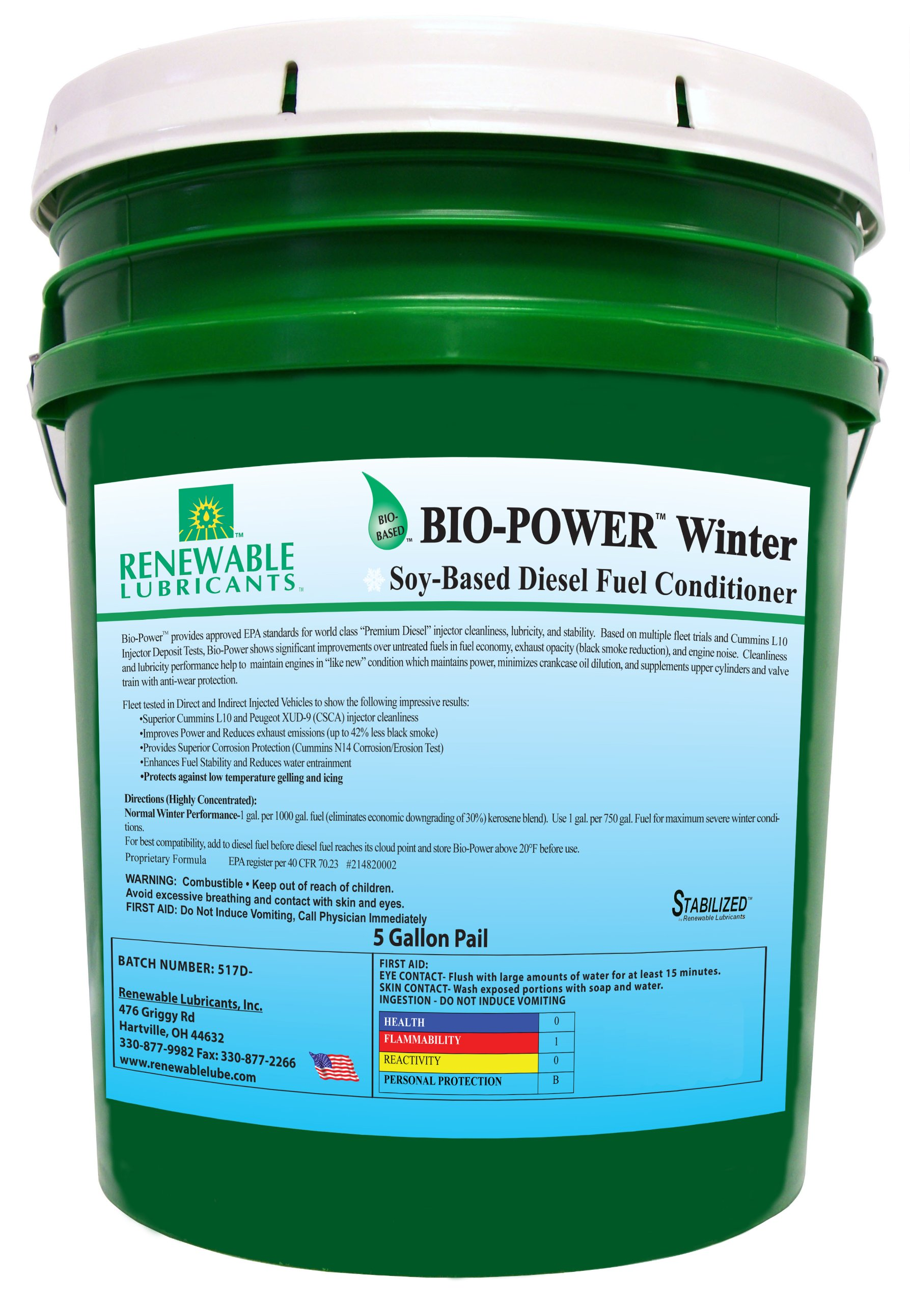 Renewable Lubricants Bio-Power Winter Diesel Fuel Conditioner, 5 Gallon Pail