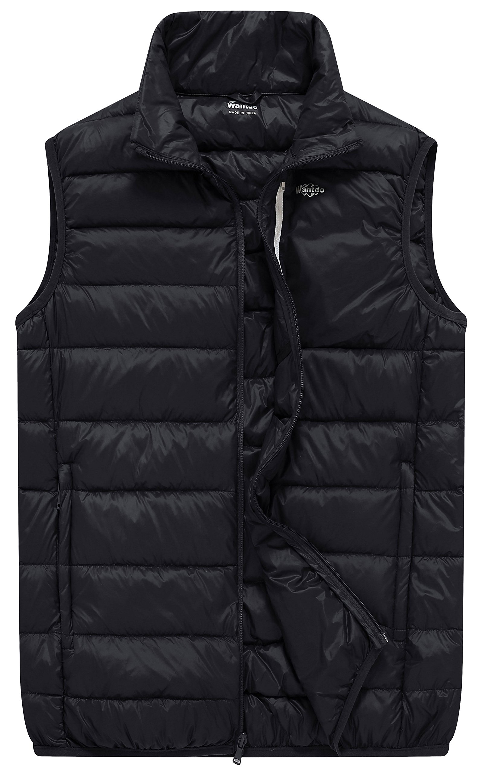 Wantdo Men's Packable Travel Down Vest Winter Jacket, Black, L by Wantdo