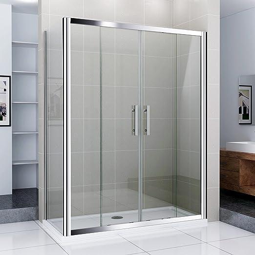 140 x 70 cm madera de doble puerta de cristal mampara de ducha ...