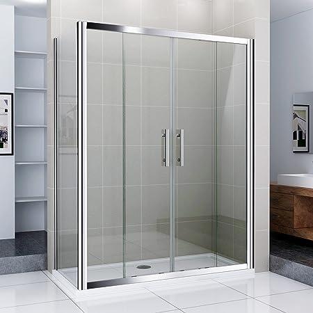 140 x 90 cm Puerta Doble Cabina de ducha Ducha Puerta Puerta de Cristal Cristal Mampara con pared lateral: Amazon.es: Hogar