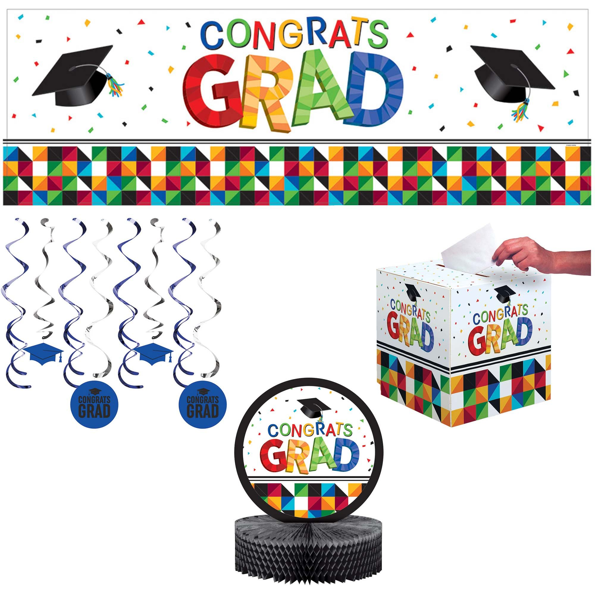 Creative Converting AZ334400 Fractal Fun Graduation Decorations Kit, Multicolor