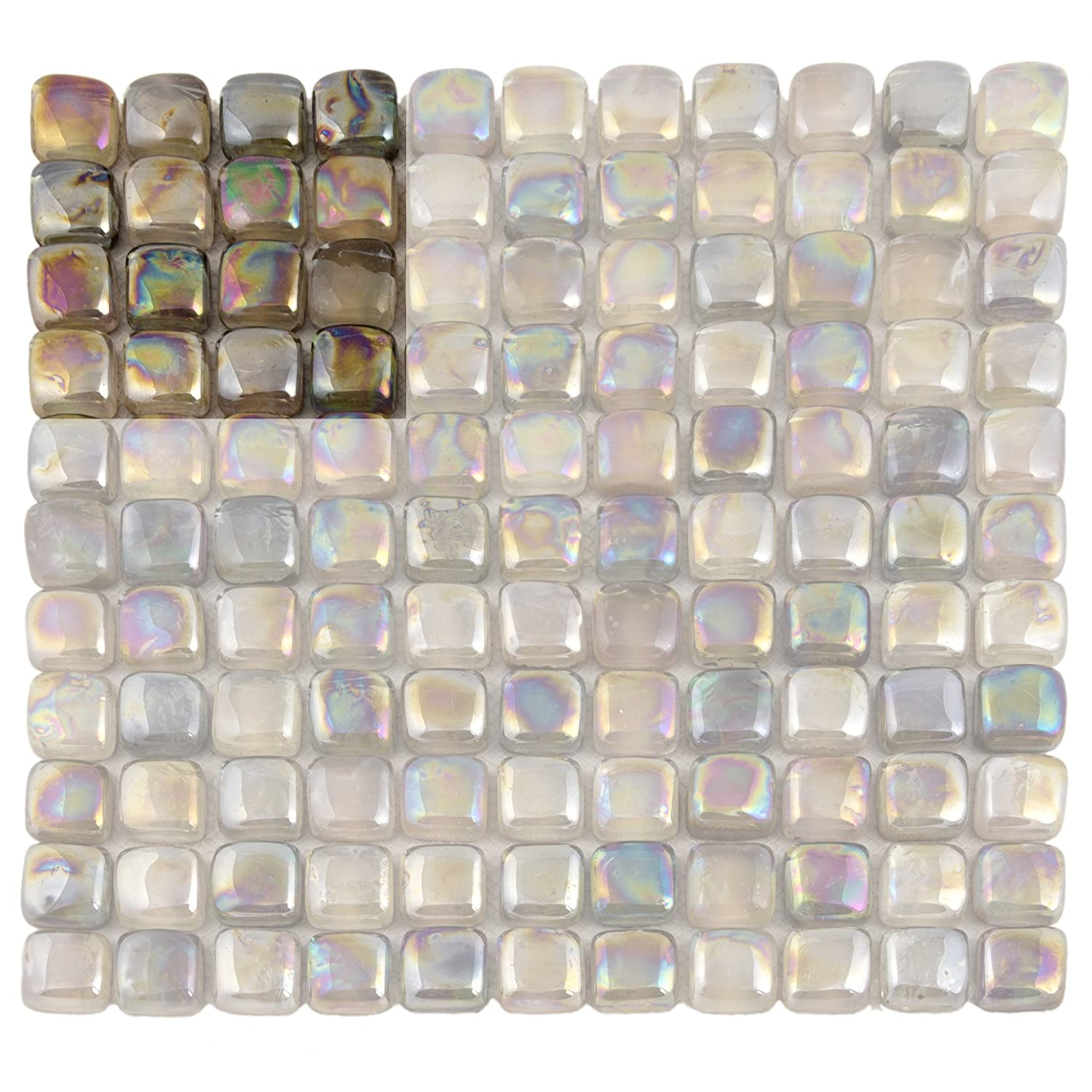 Rounded Mosaic Tiles – Special line of Bathroom Glass Mosaic Tile – Glossy elegant convex mosaic tiles ( Sample 4x4 inch, Sandy beach ) durable modeling