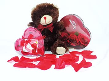 Amazon Com Valentine S Day Chocolate Roses And Teddy Bear Gift