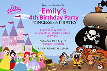 Princess Pirate Invitations Envelopes Personalised Click Customize Now For Prices