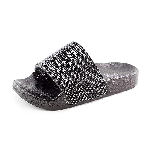d915010e4 H2K Girls Wide Sparkle Strap Slide Sandals (Black