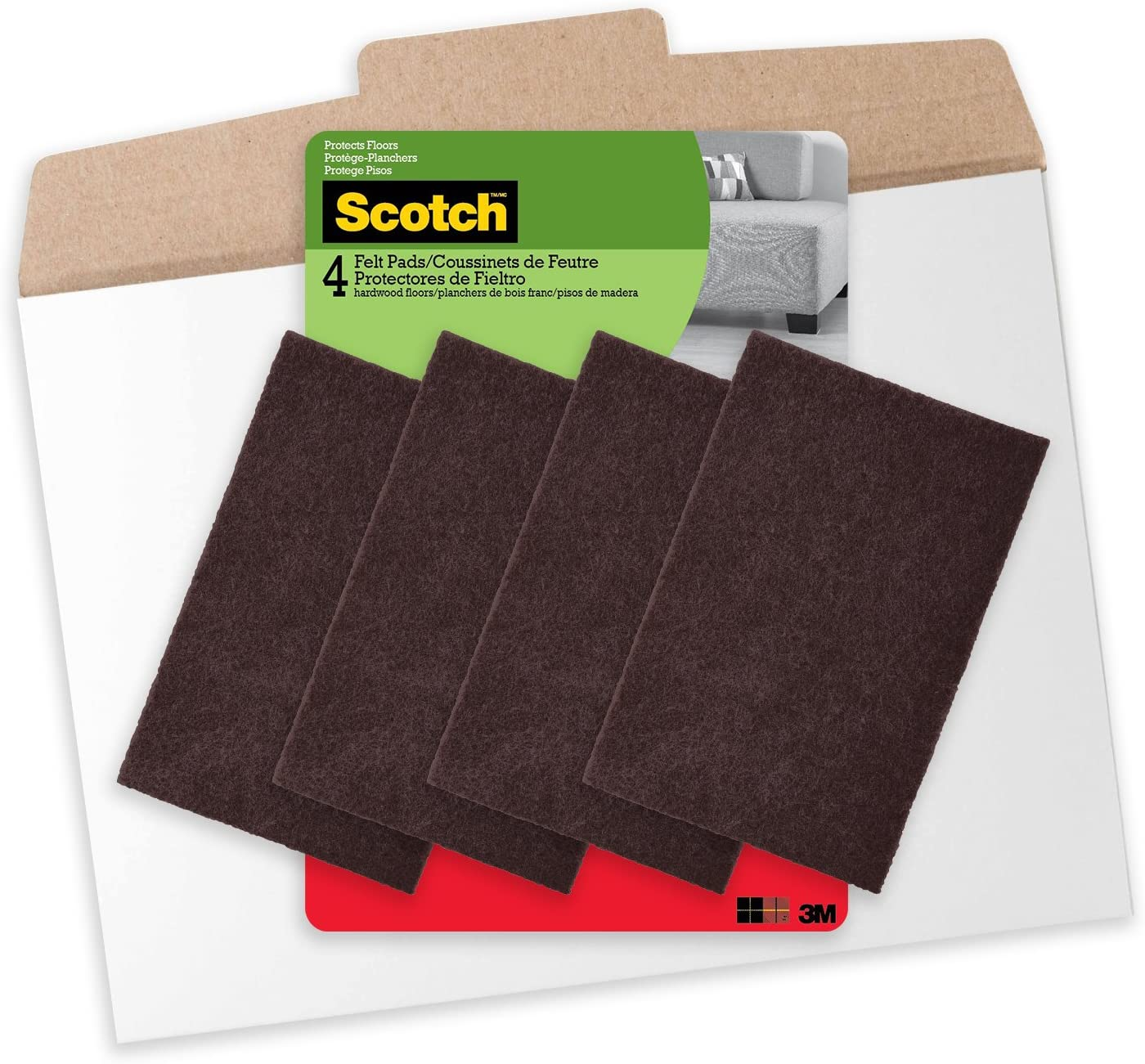 Scotch, FP830-4NA, 4 x 6 Inch Felt Pads in Easy to Open Packaging, 4 Pads, Brown