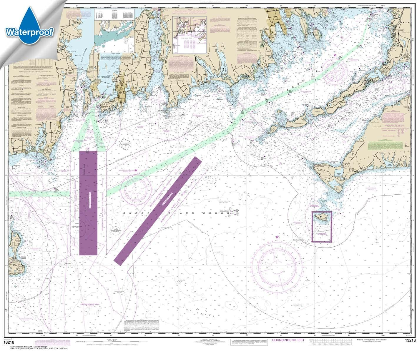 35 X 47.4 Paradise Cay Publications NOAA Chart 13205 Block Island Sound and Approaches TRADITIONAL PAPER