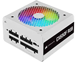 Corsair CX650F RGB, 650 Watt, 80 PLUS Bronze, Fully Modular RGB White Power Supply