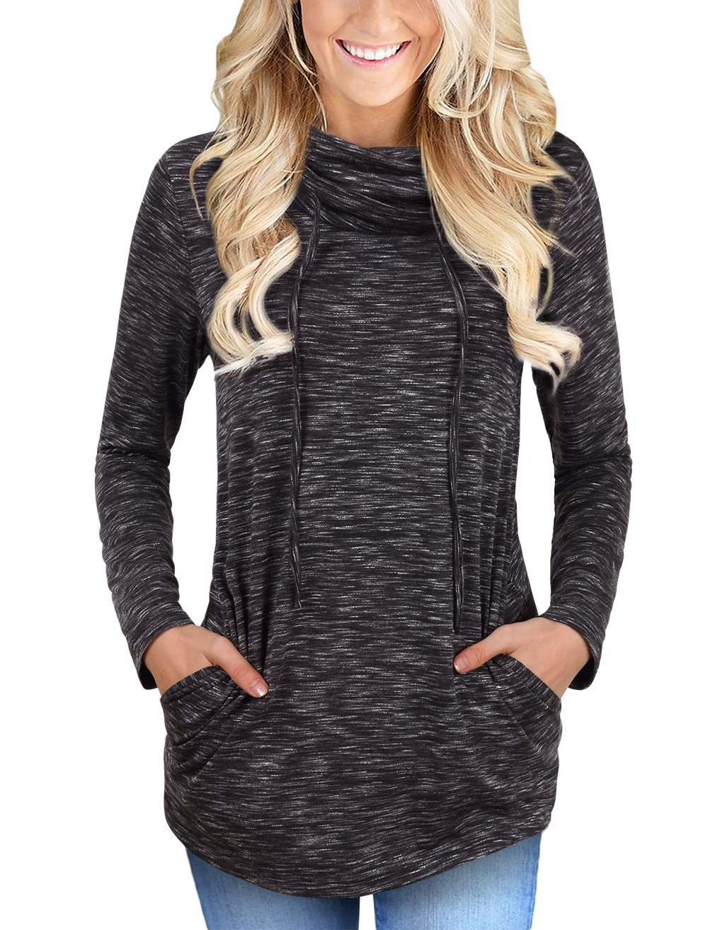 Faddare Activewear Long Sleeve Tops for Women,Cowl Neck Shirt,Black White XL by Faddare (Image #6)