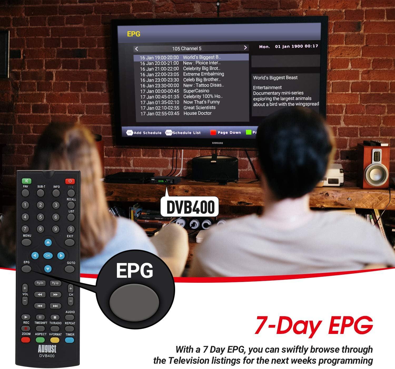 August DVB400 Receptor/Sintonizador TDT en Alta Definición – Grabador 1080P DVB-T y Reproductor multimedia con salida HDMI y salida coaxial para Audio ...