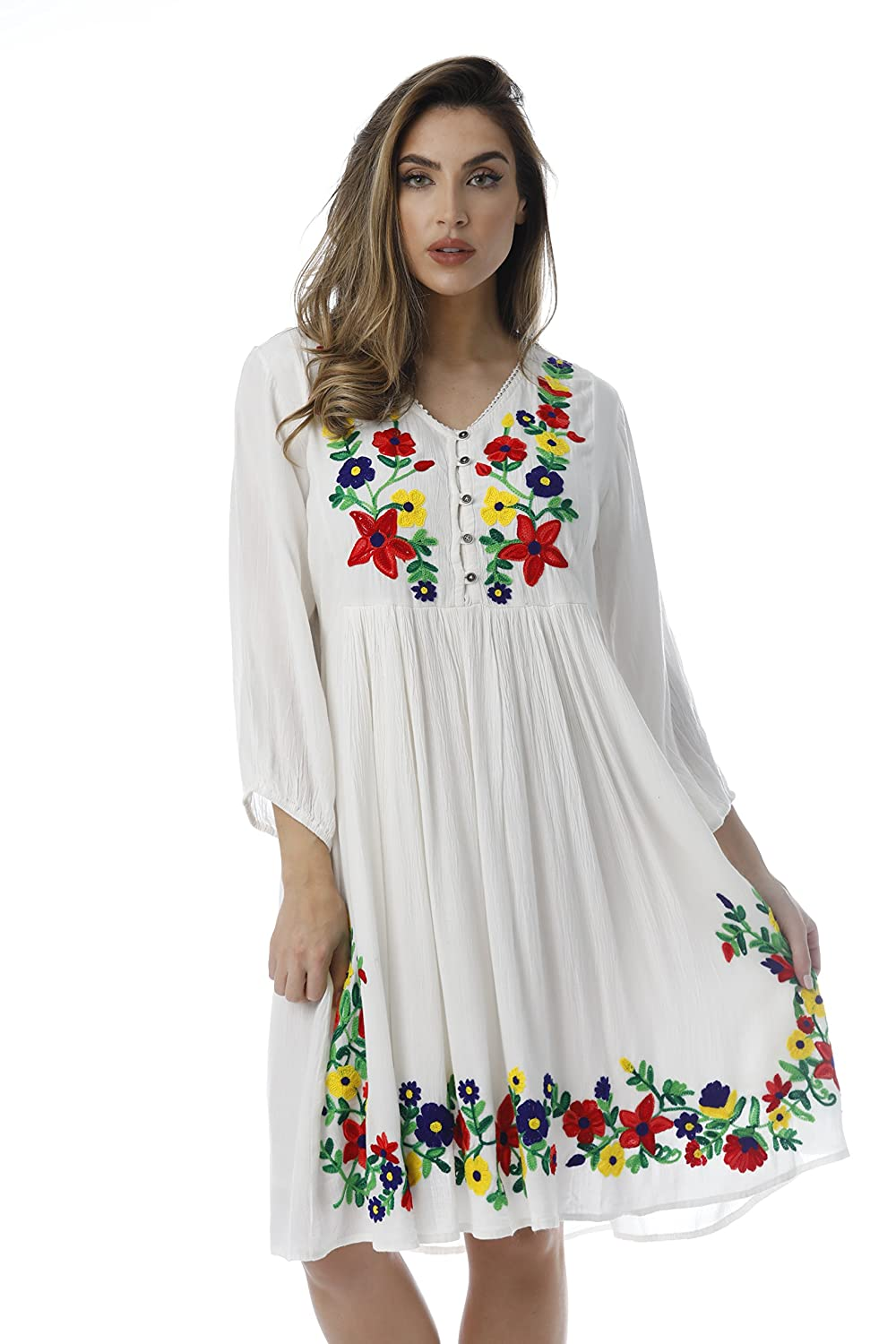 500 Vintage Style Dresses for Sale | Vintage Inspired Dresses Riviera Sun Floral Embroidered 3/4 Sleeve Button Front Empire Waist Dress $29.99 AT vintagedancer.com