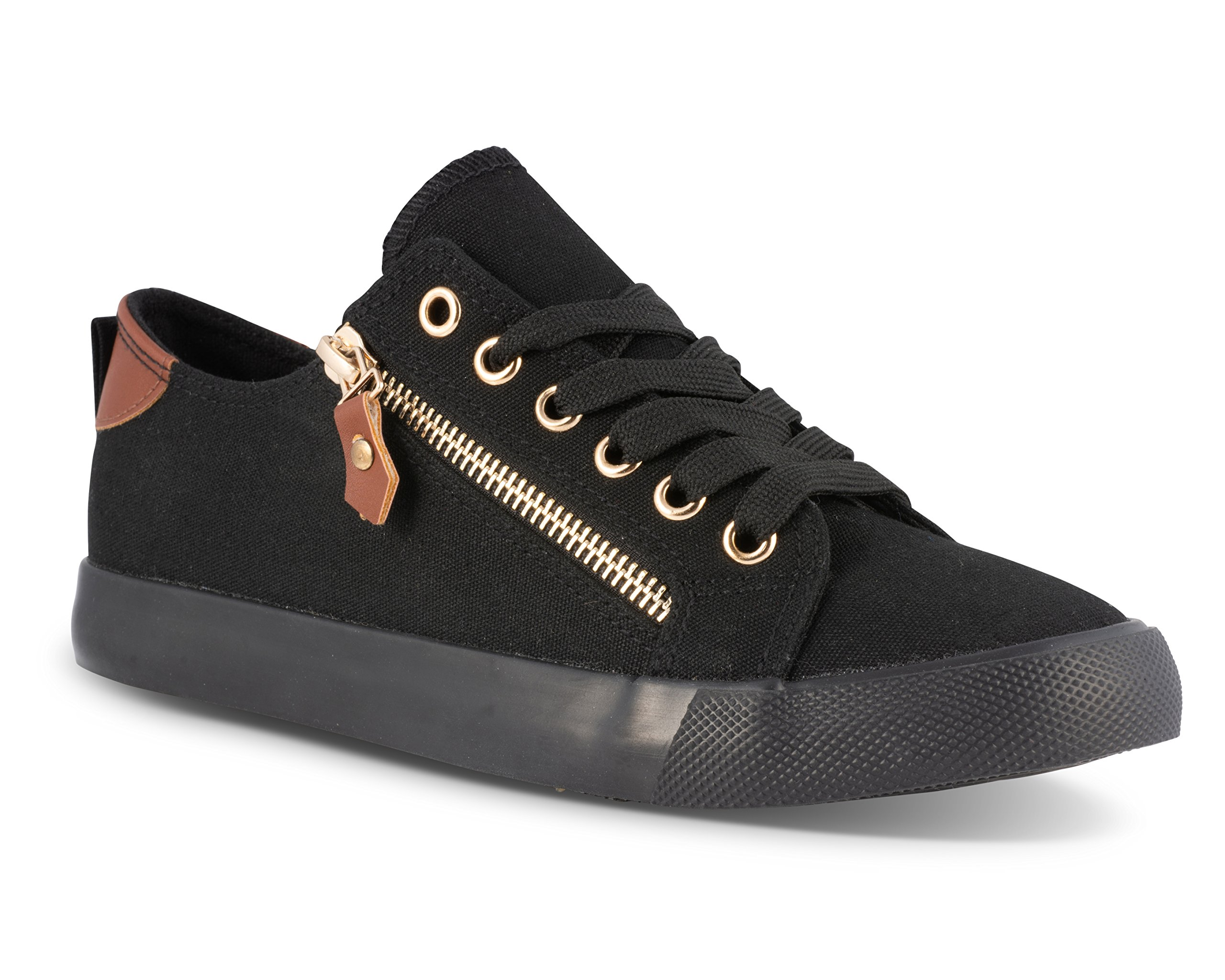 Twisted Women's KIX Canvas Sneakers with Decorative Zippers - KIXLO213BLACK, Size 8