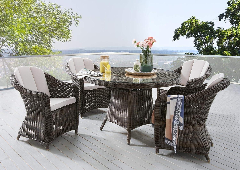 Destiny Malaga Luna II Tisch Gartenmöbelset Vintage Braun Garnitur Sitzgruppe Esstisch Rundtisch