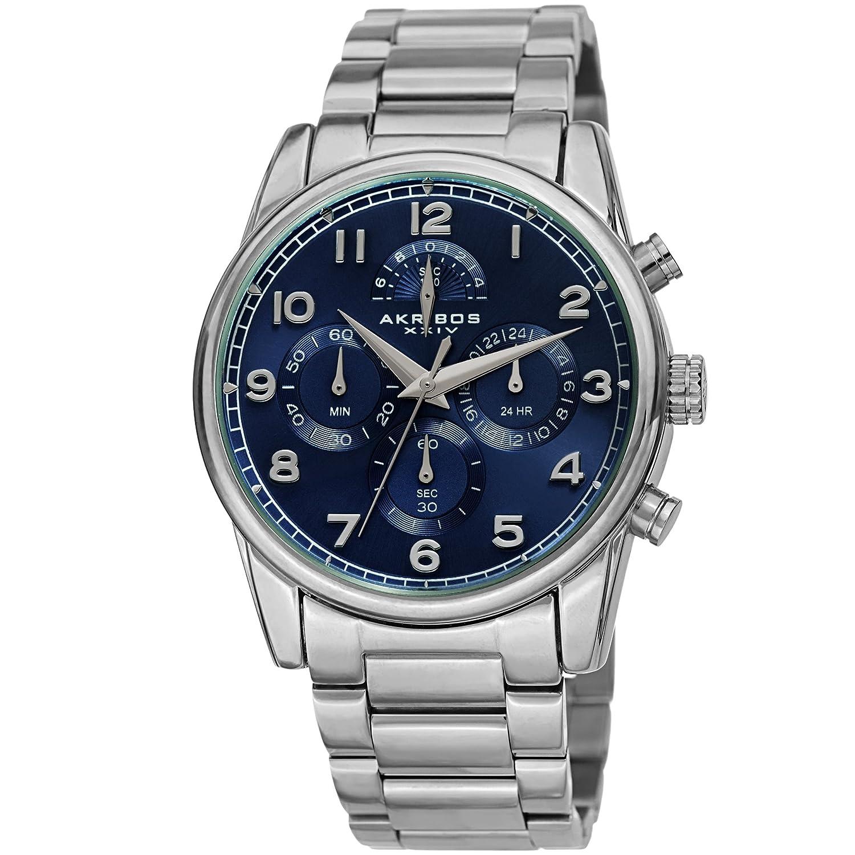 Men's Watch Quartz Xxiv Wristwatch Chronograph Akribos Ak1042–stainless Bracelet Steel YIED2eWH9