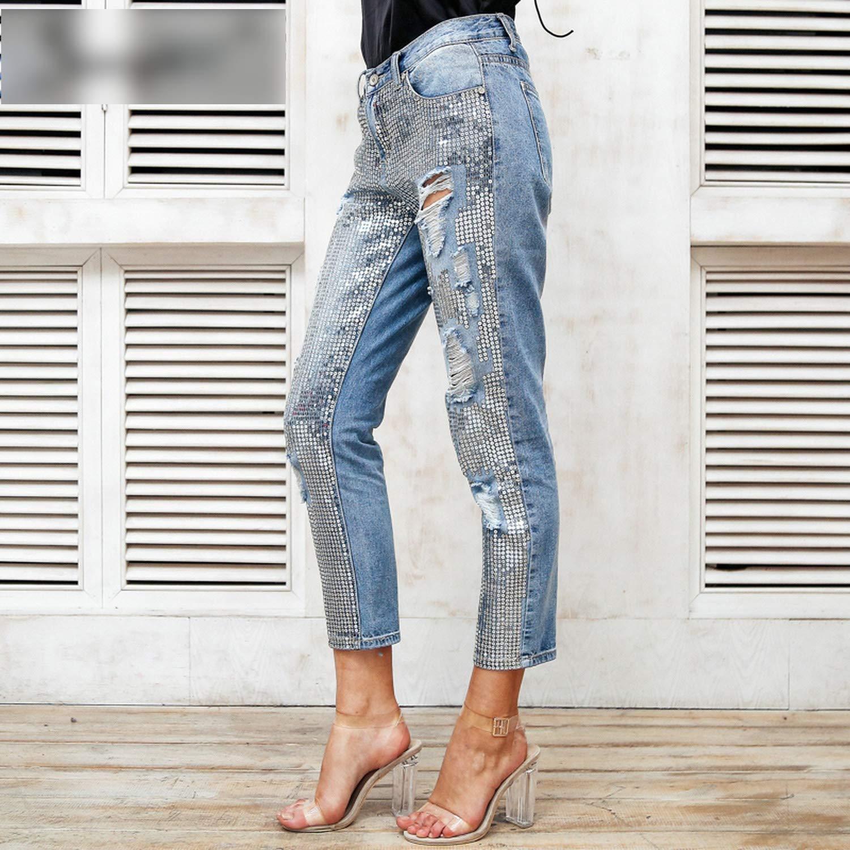 loveinfinite Sequin Hole Blue Jeans Women Bottom Streetwear Zipper Fringe Ripped Jeans Pants
