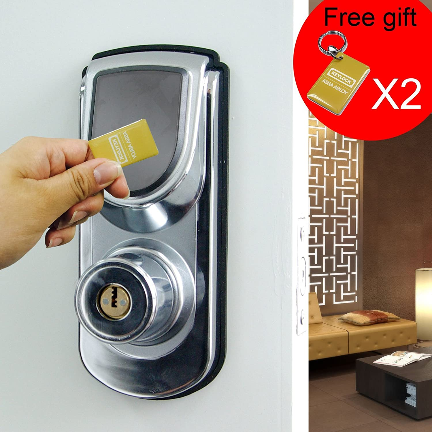 Keyless Smart Security Electronic Touch screen Keypad Door Lock Latch or Deadbolt Reversible Lever Handle Home Use Entry 6600-101 Silver (Deadbolt)