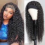 Headband Wig Deep Wave Human Hair Wigs Glueless None Lace Front Wigs Brazilian Virgin Hair Machine Made Wigs Ice Silk Deep Cu