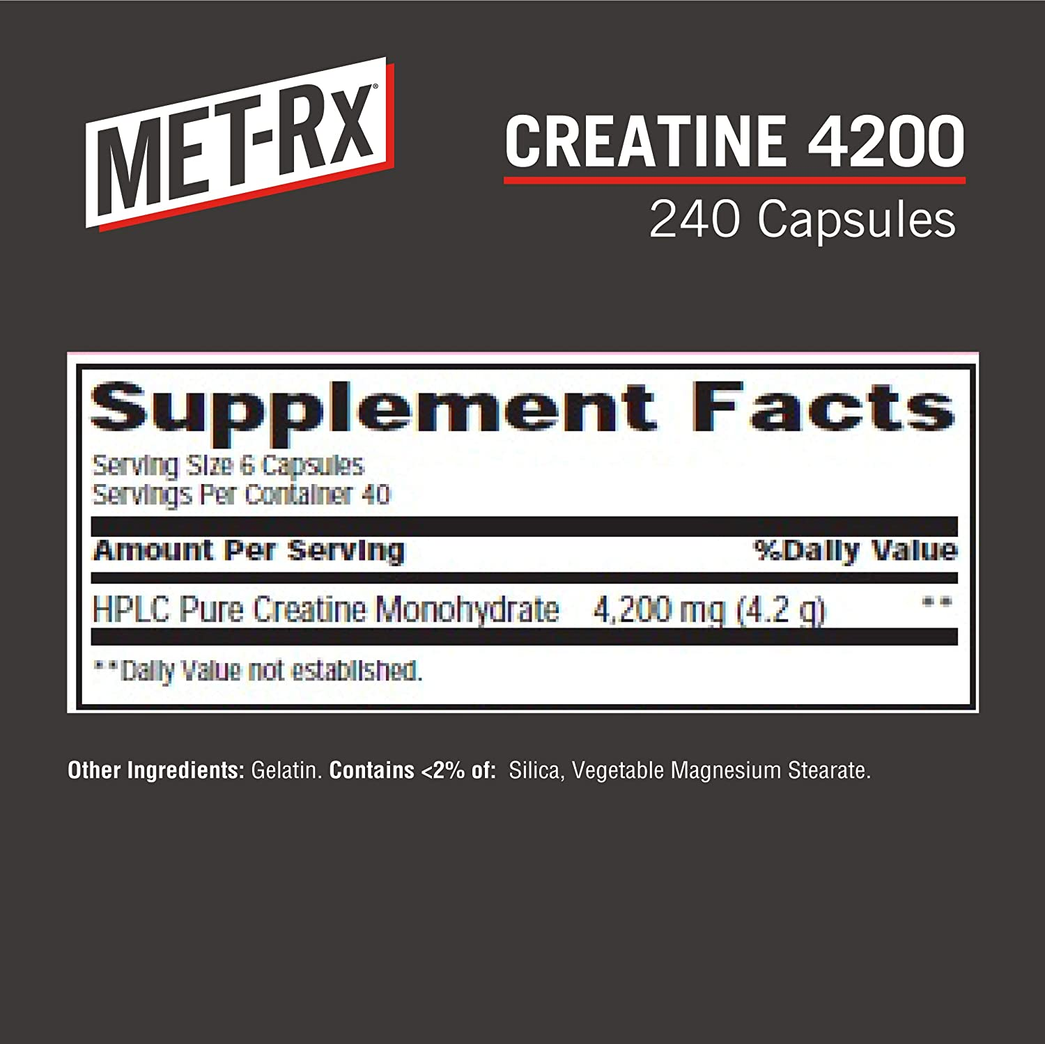 MET-Rx Creatine 4200 Supplement, Supports Muscles Pre and Post Workout, 240 Capsules: Health & Personal Care