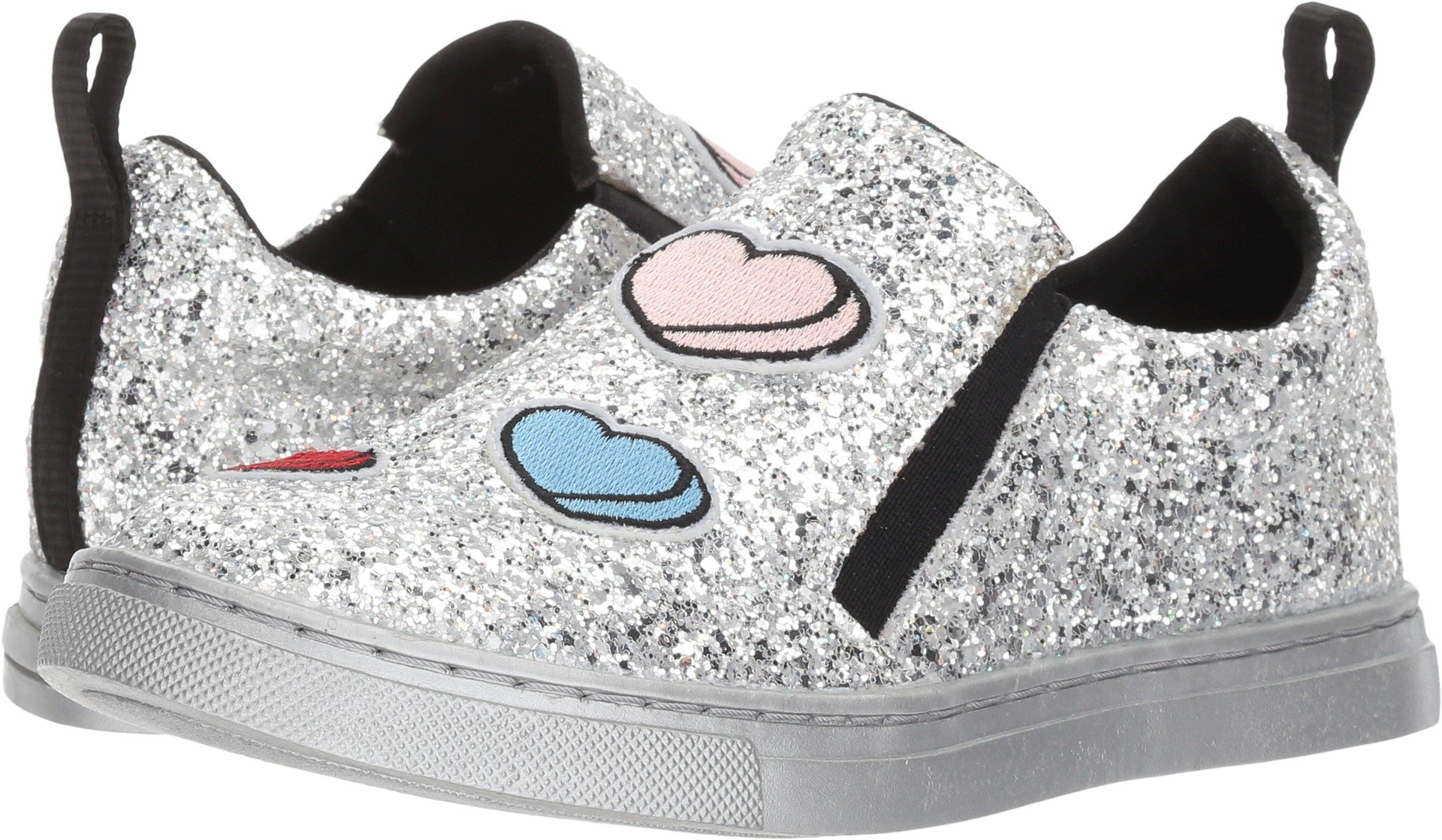 Dolce Vita Girls' Zach Sneaker, Silver Multi Glitter, 3 Medium US Little Kid