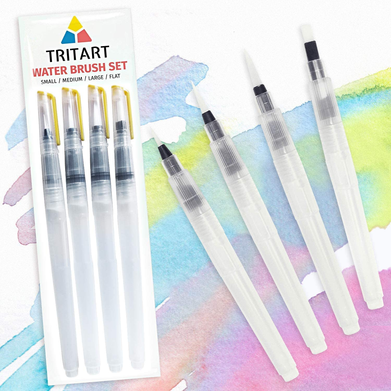 4 Wassertankpinsel Tritart Profi Water Brush Pen Wasserpinsel Set mit Tank f/ür Aquarell