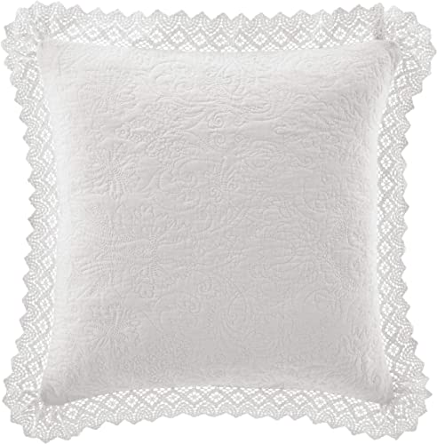 Laura Ashley Home Solid Crochet Perfect Decorative Throw Pillow, Premium Designer Quality, Decorative Pillow for Bedroom Living Room and Home D cor, 16 x 16 , White