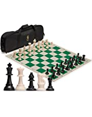Staunton Regulation Tournament Chess Set with 2 Extra Queens, Weighted Chessmen, Bag, and Roll-Up Vinyl Board with Green & Natural Squares