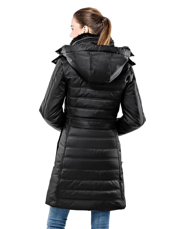 Vincenzo Boretti chaquetón Invierno de Mujer, Acolchado Caliente para temperaturas bajo Cero, Ribete de Piel sintética en el Cuello y Capucha con Forro ...