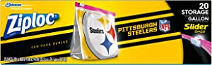 Ziploc Slider Storage Gallon Bag, Great for Grab-and-go Snacking, Tailgating or homegating, 20 Count- NFL Pittsburgh Steelers