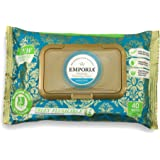 Biodegradable Flushable Cleansing Wet Wipes by Emporia, 40 Pack Resealable Refill