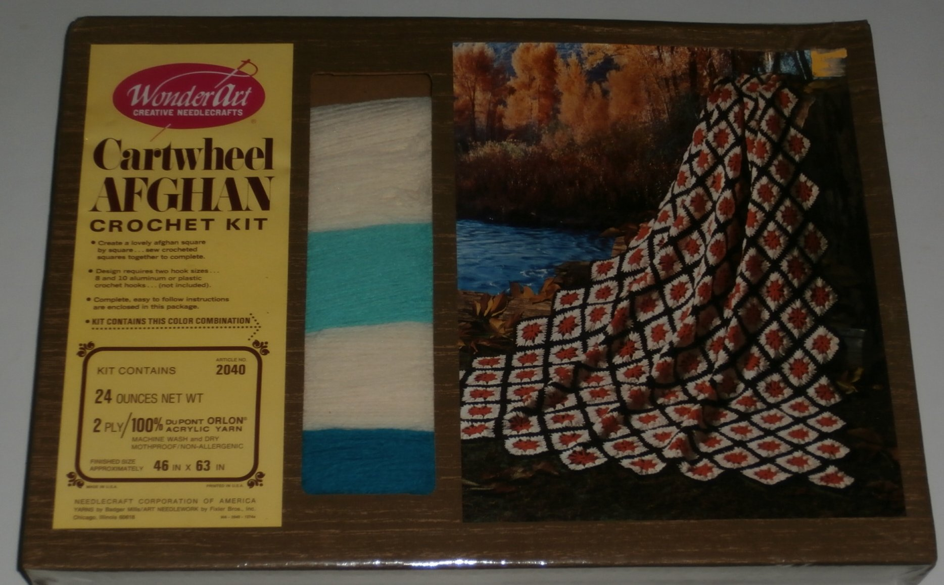 Cartwheel Afghan Crochet Kit - Teal Blues and Off-White