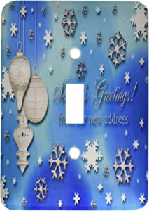 3dRose lsp_34379_1 Season s Greetings, from our new address, Snowflakes and Ornaments Toggle Switch, Multi-Color