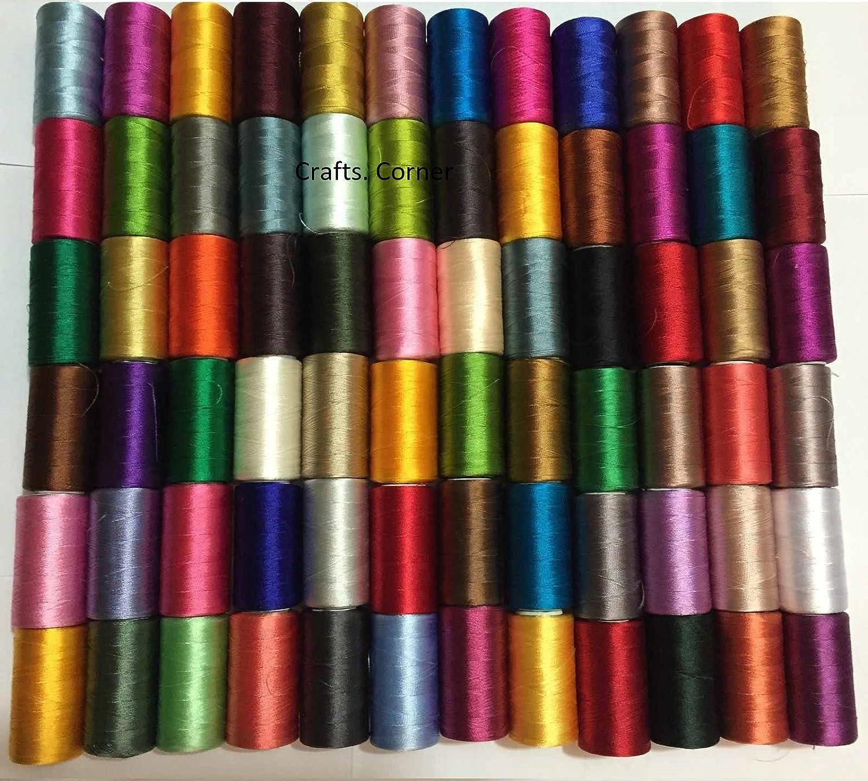 50 bobinas de hilo de seda para bordar de máquina de coser Brother Singer: Amazon.es: Hogar
