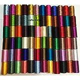 50 bobinas de hilo de seda para bordar de máquina de coser Brother Singer