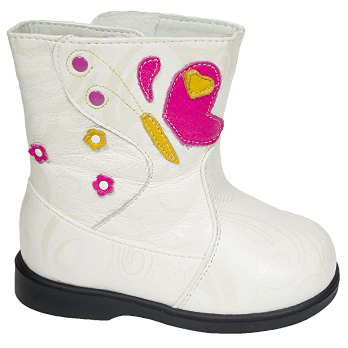 Freycoo - Girls Toddler Infants Childrens REAL Leather Boots - Cream / Off- White with Fleecy Inners - with Shoe Horn: Amazon.co.uk: Shoes & Bags