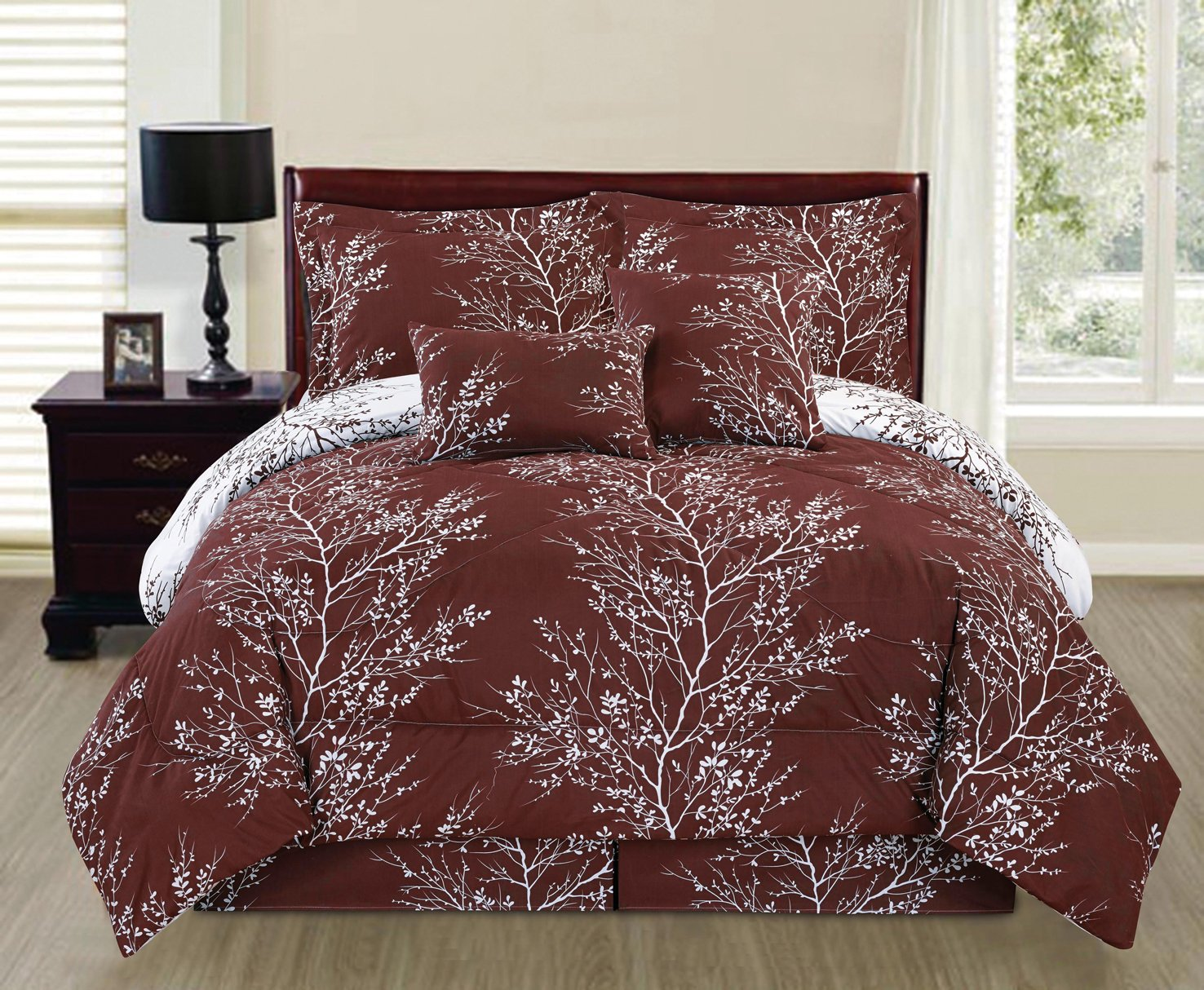 6 Piece Reversible Branches Comforter Set New Bedding (Full, Coffee