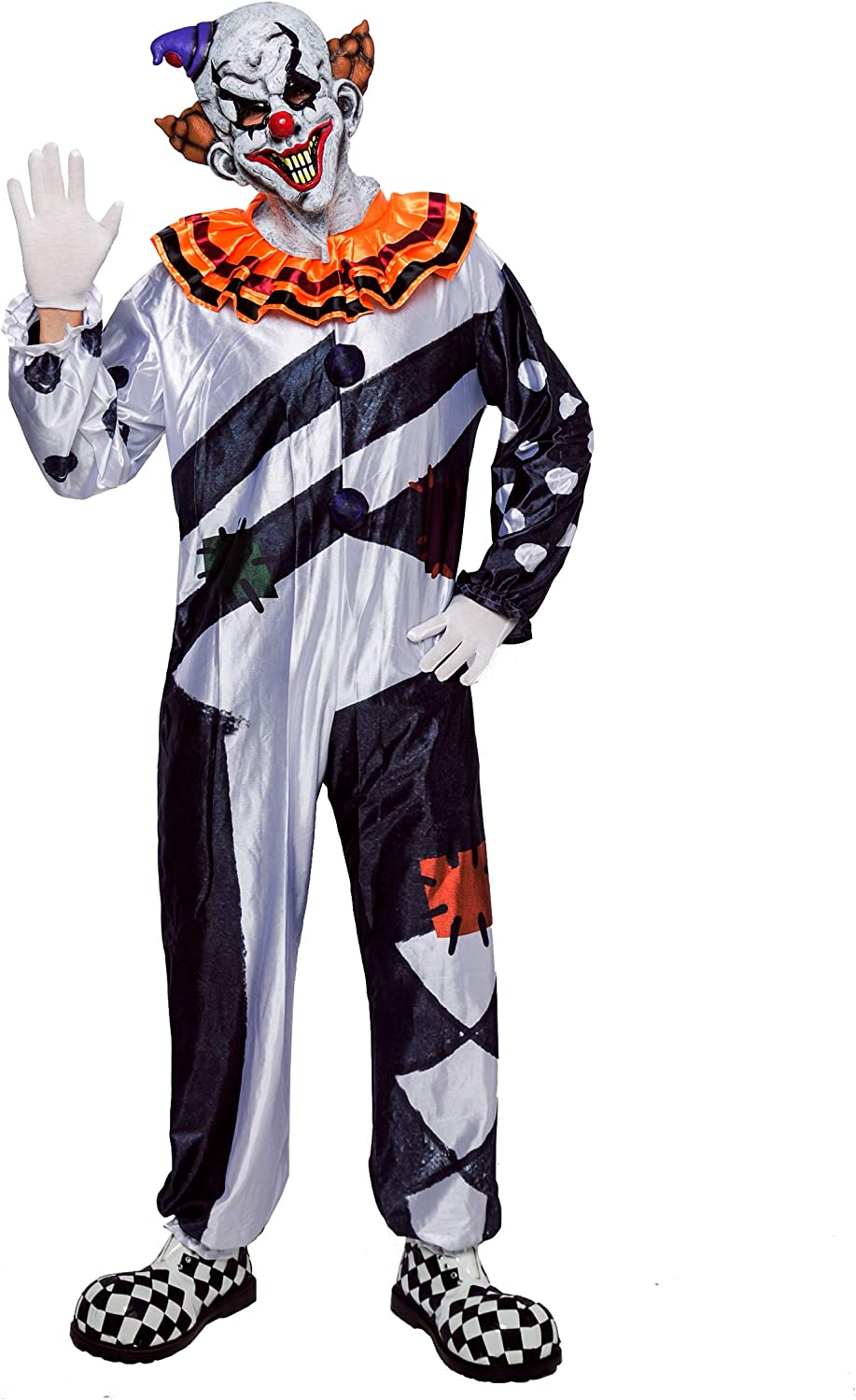 Role Play and Carnival Cosplay Scary Clown Deluxe Men Costume Set for Halloween Dress Up Party
