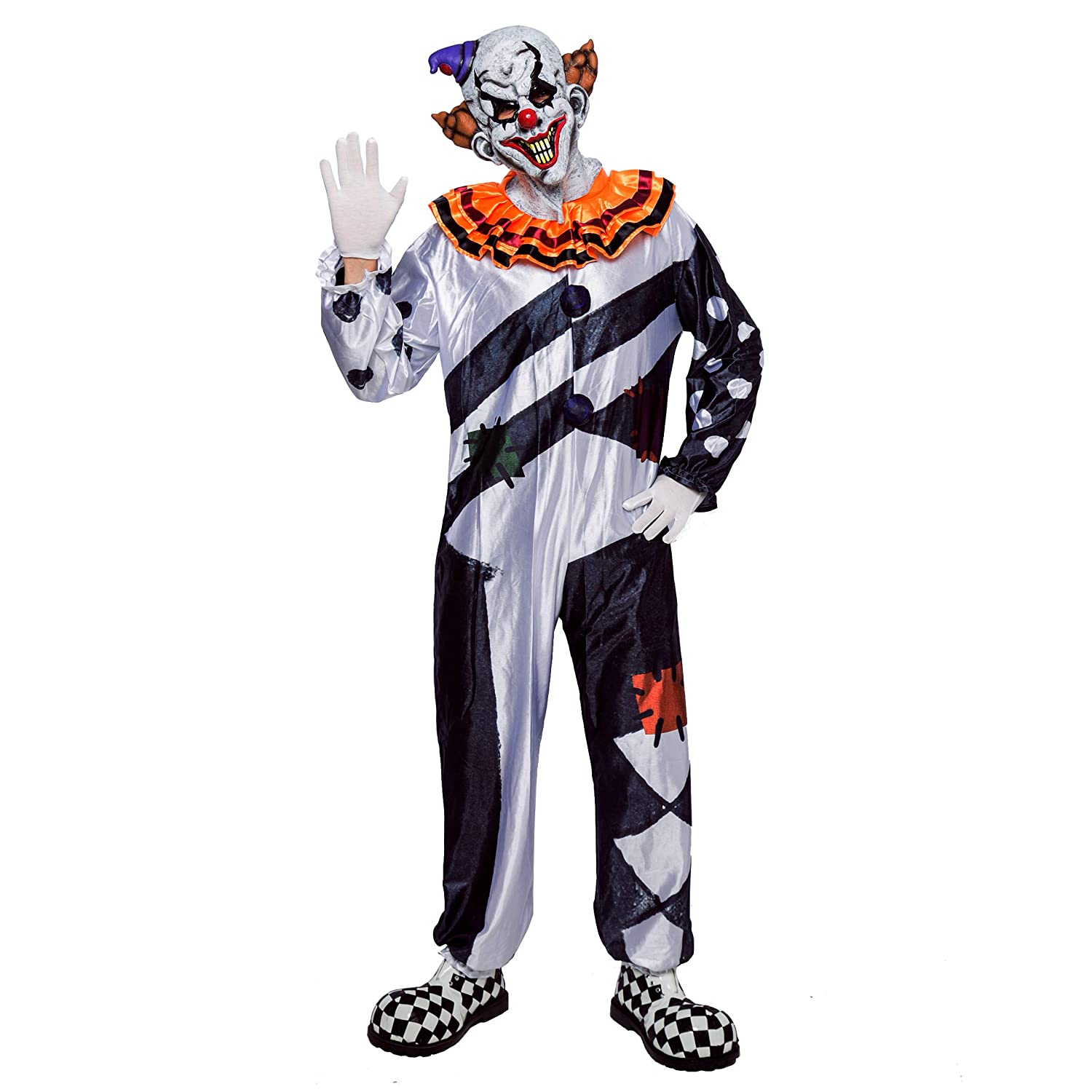 Halloween Costumes Scary Men.Scary Clown Deluxe Men Costume Set For Halloween Dress Up Party Role Play And Carnival Cosplay